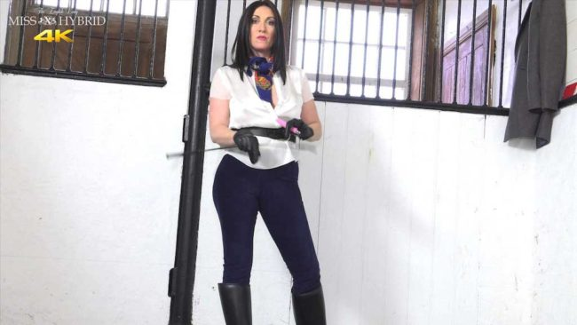 Miss Hybrid leather gloves and riding crop equestrian mistress.